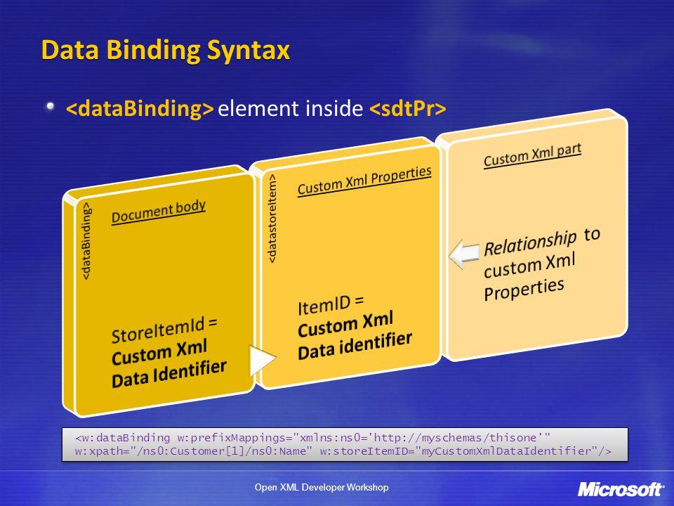 Open XML Developer Workshop Data Binding Syntax element inside