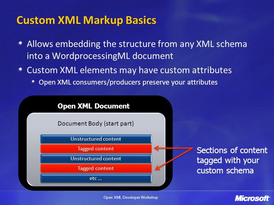 Open XML Developer Workshop Custom XML Markup Basics Allows embedding the structure from any XML schema into a WordprocessingML document Custom XML el