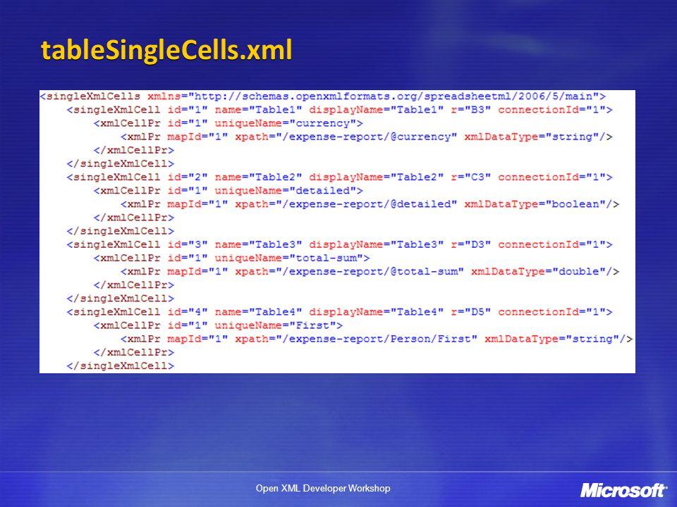 Open XML Developer Workshop tableSingleCells.xml