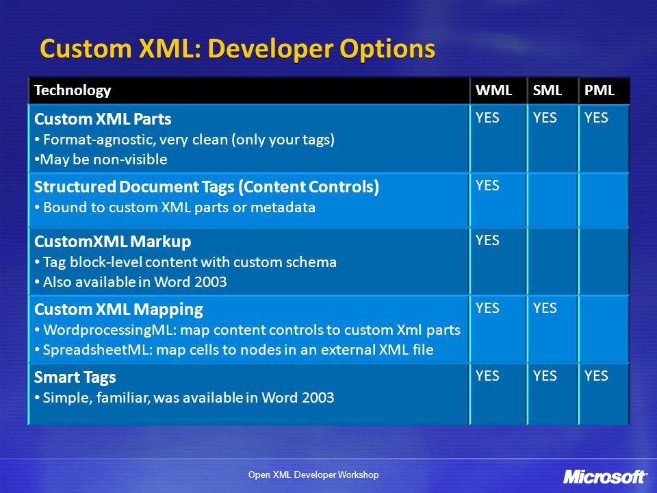 Open XML Developer Workshop CUSTOM XML PARTS