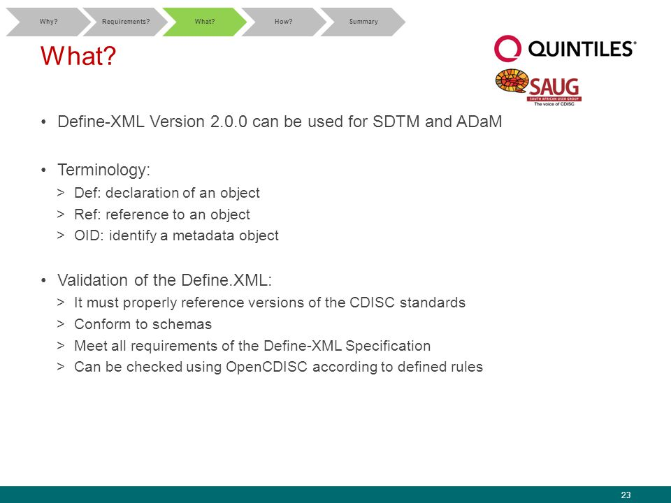 23 What? Define-XML Version 2.0.0 can be used for SDTM and ADaM Terminology: >Def: declaration of an object >Ref: reference to an object >OID: identif