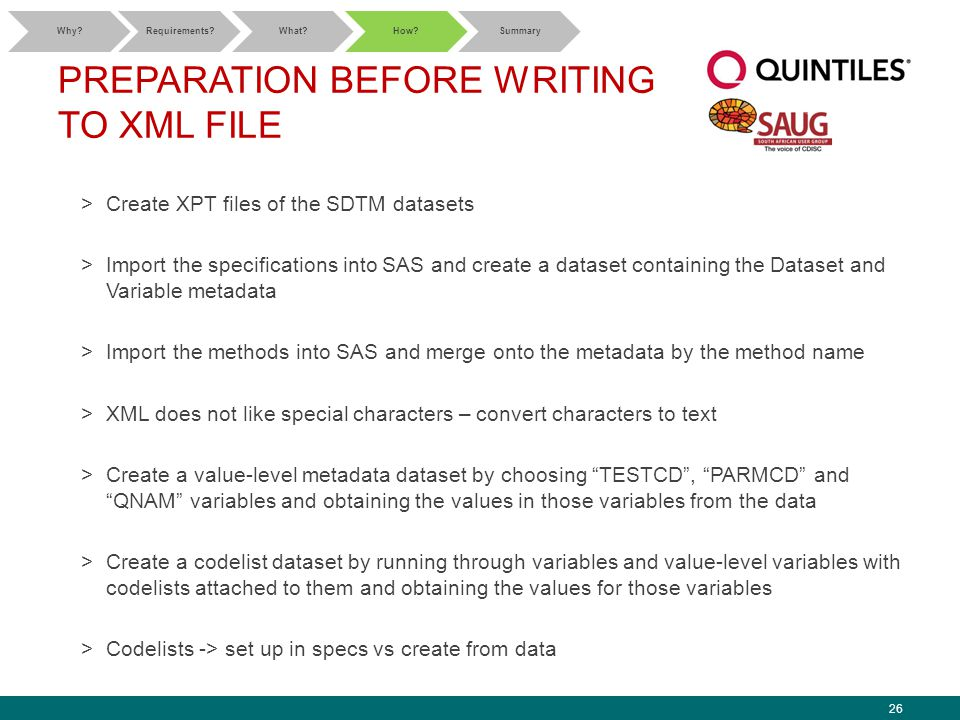 26 PREPARATION BEFORE WRITING TO XML FILE >Create XPT files of the SDTM datasets >Import the specifications into SAS and create a dataset containing the Dataset and Variable metadata >Import the methods into SAS and merge onto the metadata by the method name >XML does not like special characters – convert characters to text >Create a value-level metadata dataset by choosing TESTCD , PARMCD and QNAM variables and obtaining the values in those variables from the data >Create a codelist dataset by running through variables and value-level variables with codelists attached to them and obtaining the values for those variables >Codelists -> set up in specs vs create from data Why Requirements What How Summary