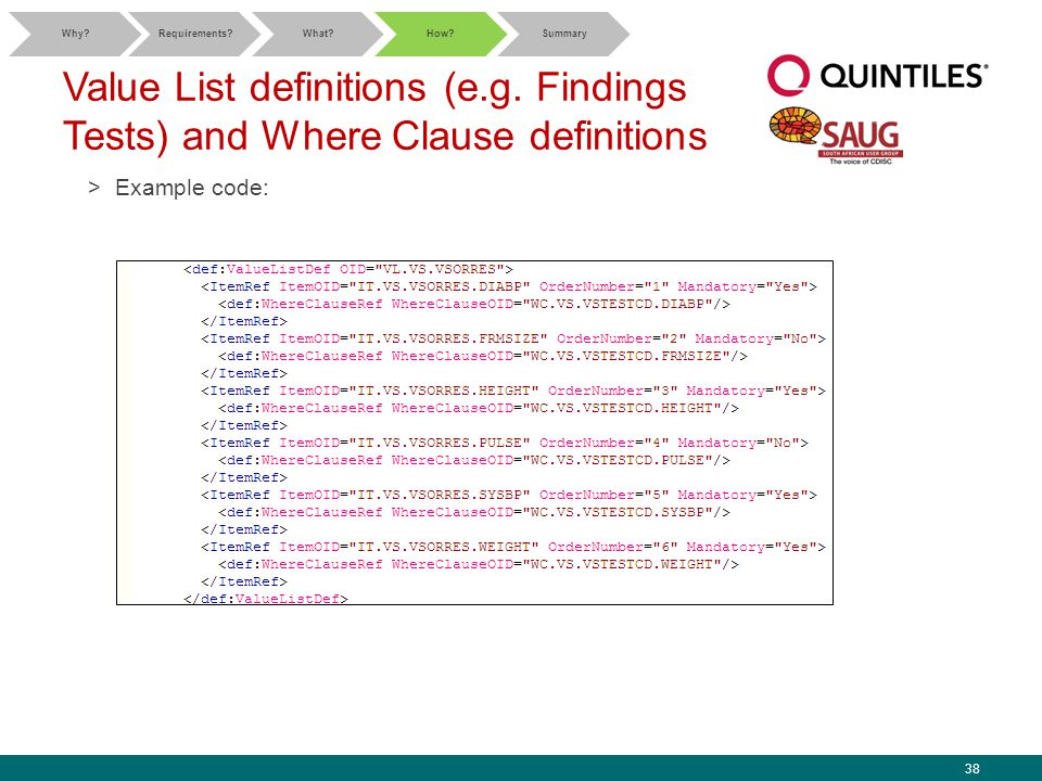 38 Value List definitions (e.g. Findings Tests) and Where Clause definitions >Example code: Why?Requirements?What?How?Summary