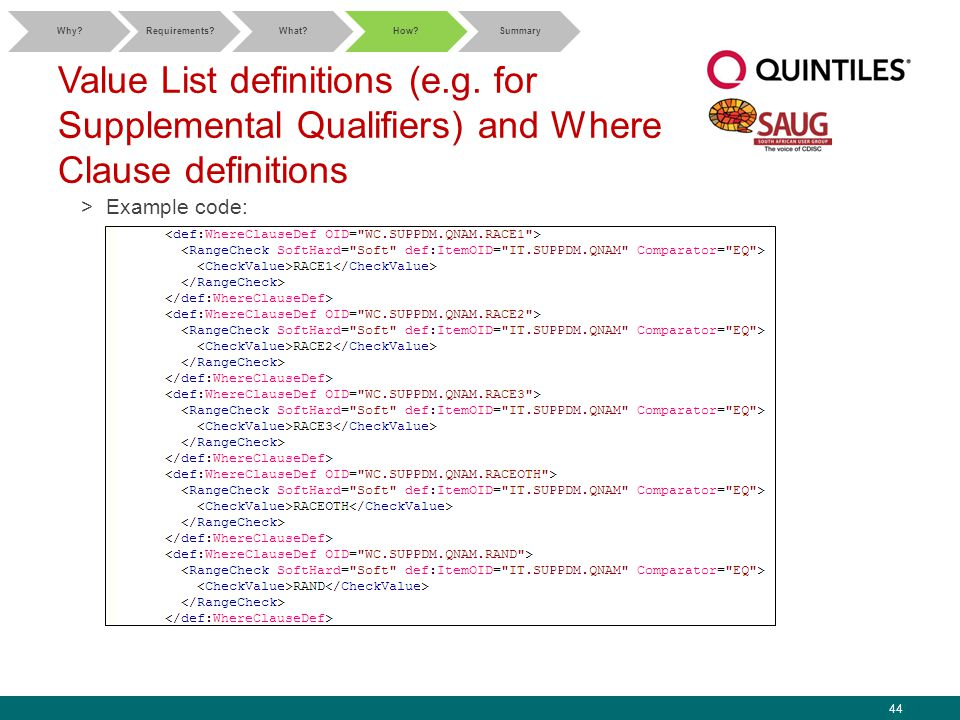 44 Value List definitions (e.g. for Supplemental Qualifiers) and Where Clause definitions >Example code: Why?Requirements?What?How?Summary
