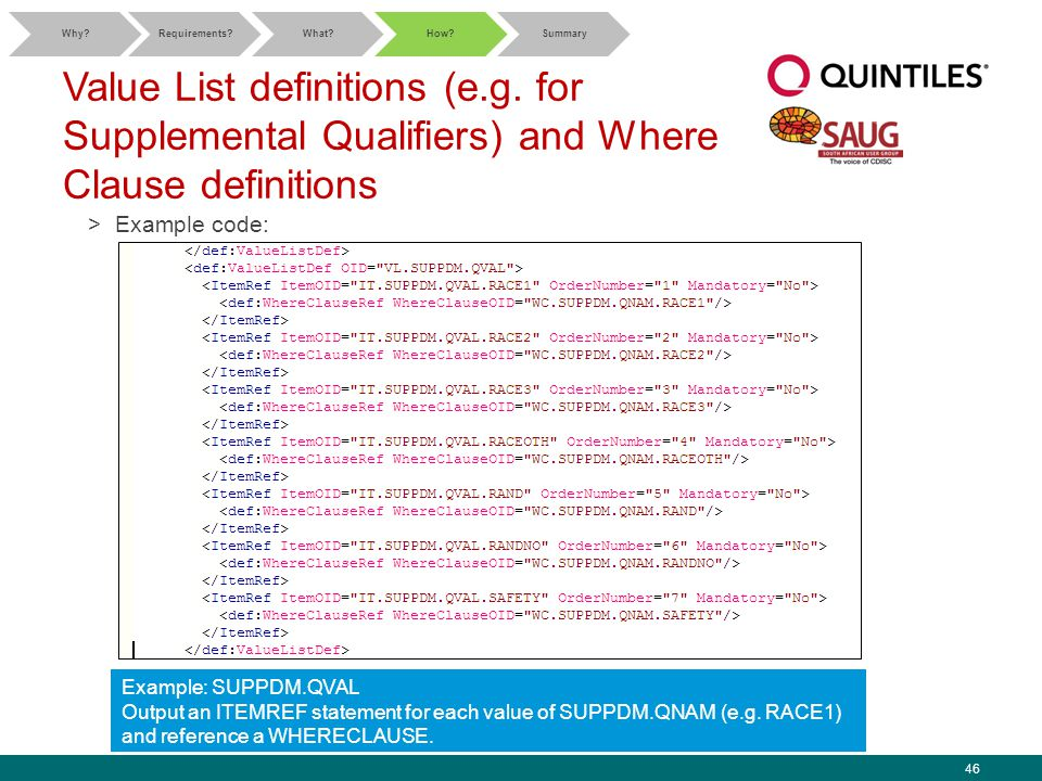 46 Value List definitions (e.g. for Supplemental Qualifiers) and Where Clause definitions >Example code: Why?Requirements?What?How?Summary Example: SU
