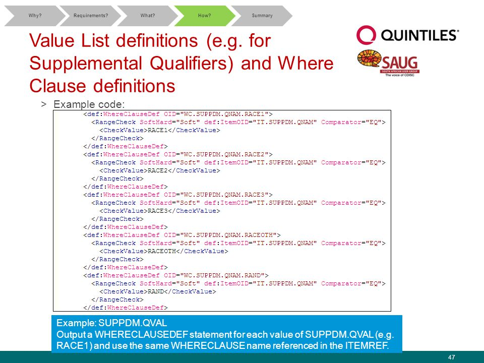 47 Value List definitions (e.g. for Supplemental Qualifiers) and Where Clause definitions >Example code: Why?Requirements?What?How?Summary Example: SU