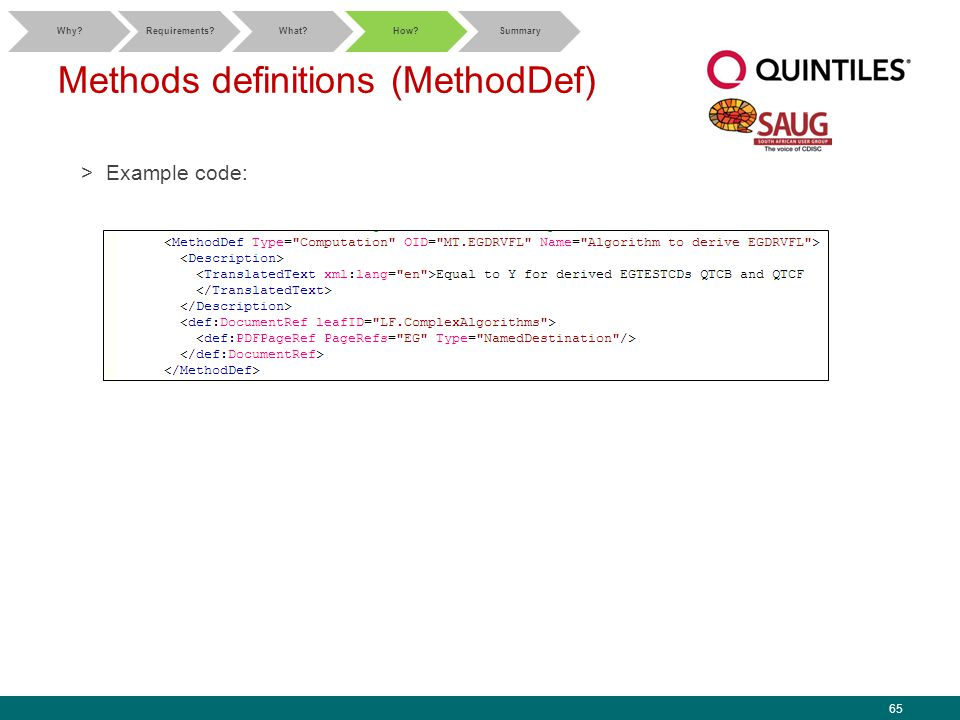 65 Methods definitions (MethodDef) >Example code: Why Requirements What How Summary