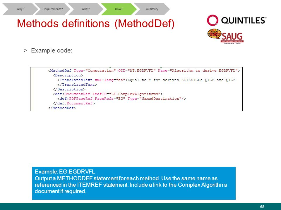 68 Methods definitions (MethodDef) >Example code: Why Requirements What How Summary Example: EG.EGDRVFL Output a METHODDEF statement for each method.