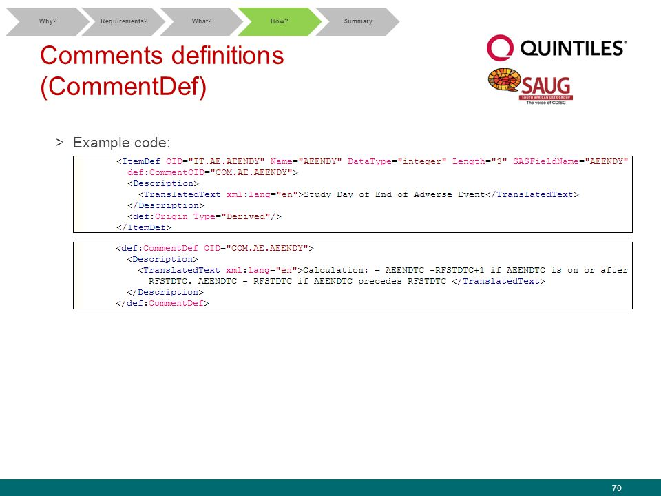 70 Comments definitions (CommentDef) >Example code: Why Requirements What How Summary