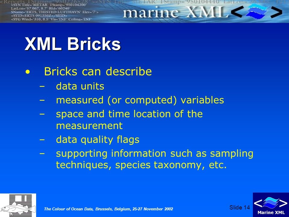 The Colour of Ocean Data, Brussels, Belgium, 25-27 November 2002 Slide 14 XML Bricks Bricks can describe –data units –measured (or computed) variables –space and time location of the measurement –data quality flags –supporting information such as sampling techniques, species taxonomy, etc.