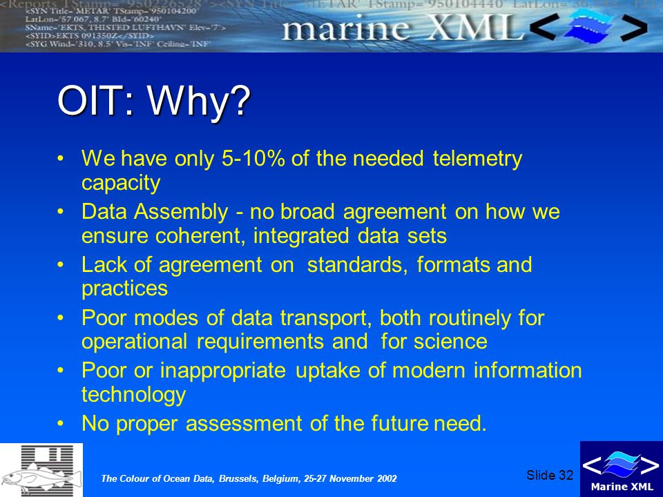 The Colour of Ocean Data, Brussels, Belgium, 25-27 November 2002 Slide 32 OIT: Why.