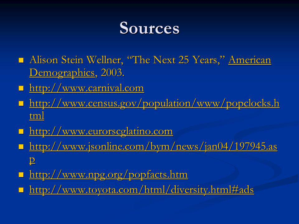 """Sources Alison Stein Wellner, """"The Next 25 Years,"""" American Demographics, 2003. Alison Stein Wellner, """"The Next 25 Years,"""" American Demographics, 2003"""
