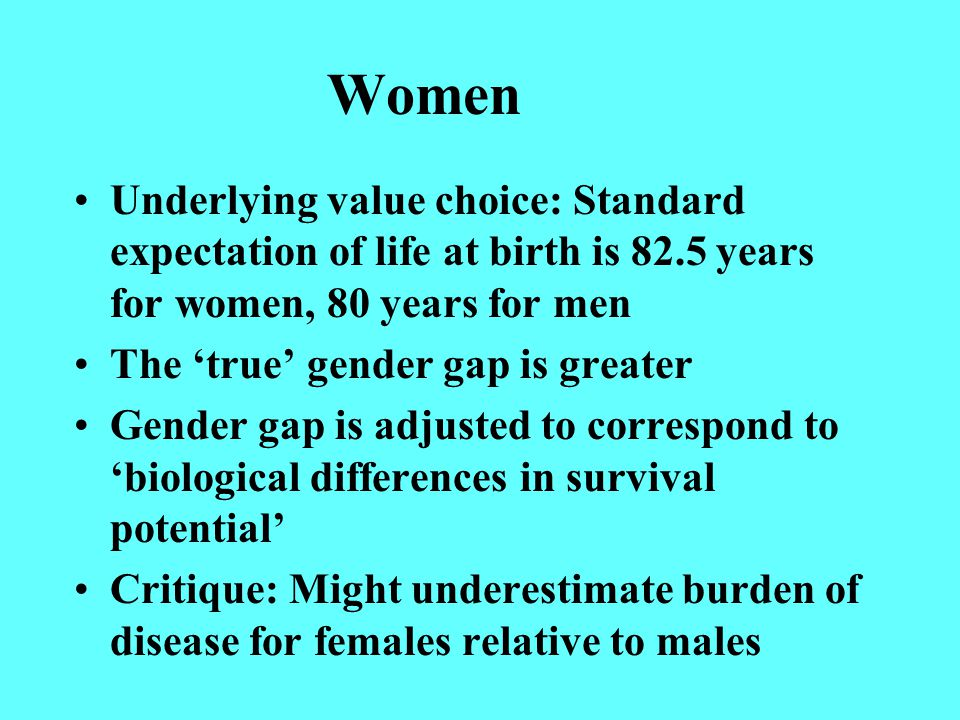 Women Underlying value choice: Standard expectation of life at birth is 82.5 years for women, 80 years for men The 'true' gender gap is greater Gender gap is adjusted to correspond to 'biological differences in survival potential' Critique: Might underestimate burden of disease for females relative to males