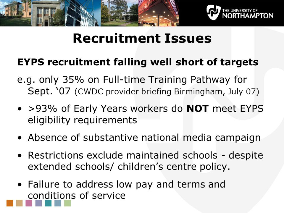 Recruitment Issues EYPS recruitment falling well short of targets e.g. only 35% on Full-time Training Pathway for Sept. '07 (CWDC provider briefing Bi