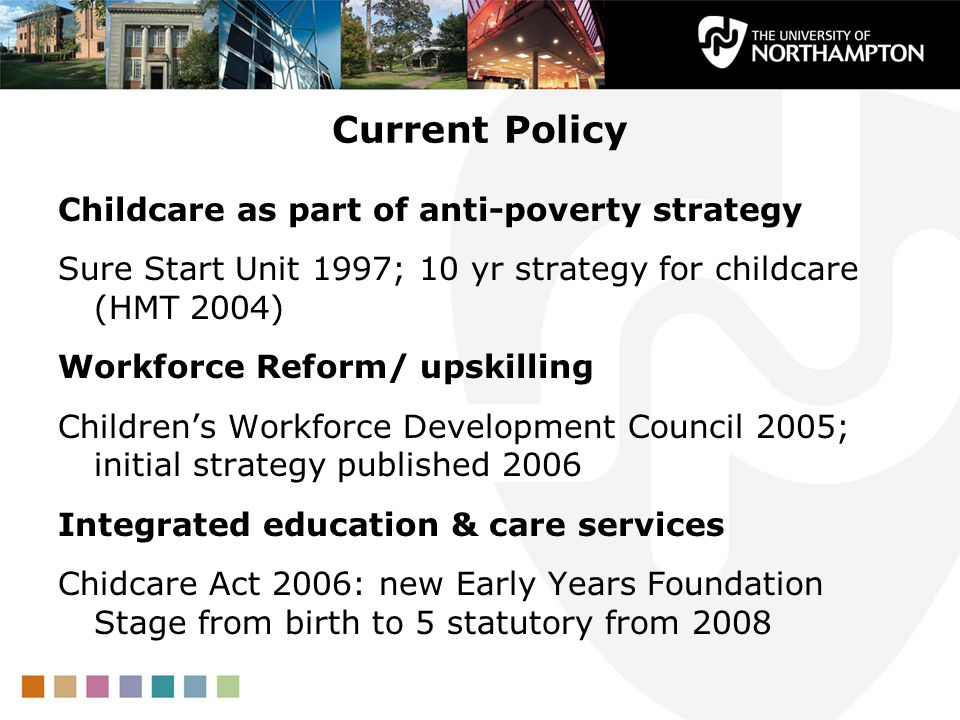 Current Policy Childcare as part of anti-poverty strategy Sure Start Unit 1997; 10 yr strategy for childcare (HMT 2004) Workforce Reform/ upskilling C