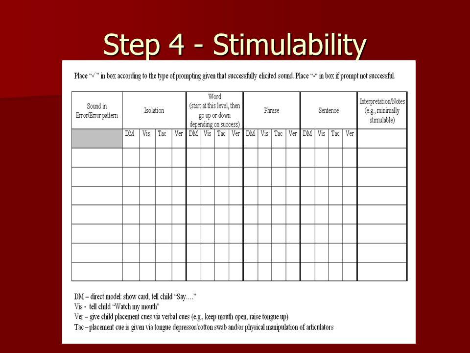 Step 4 - Stimulability