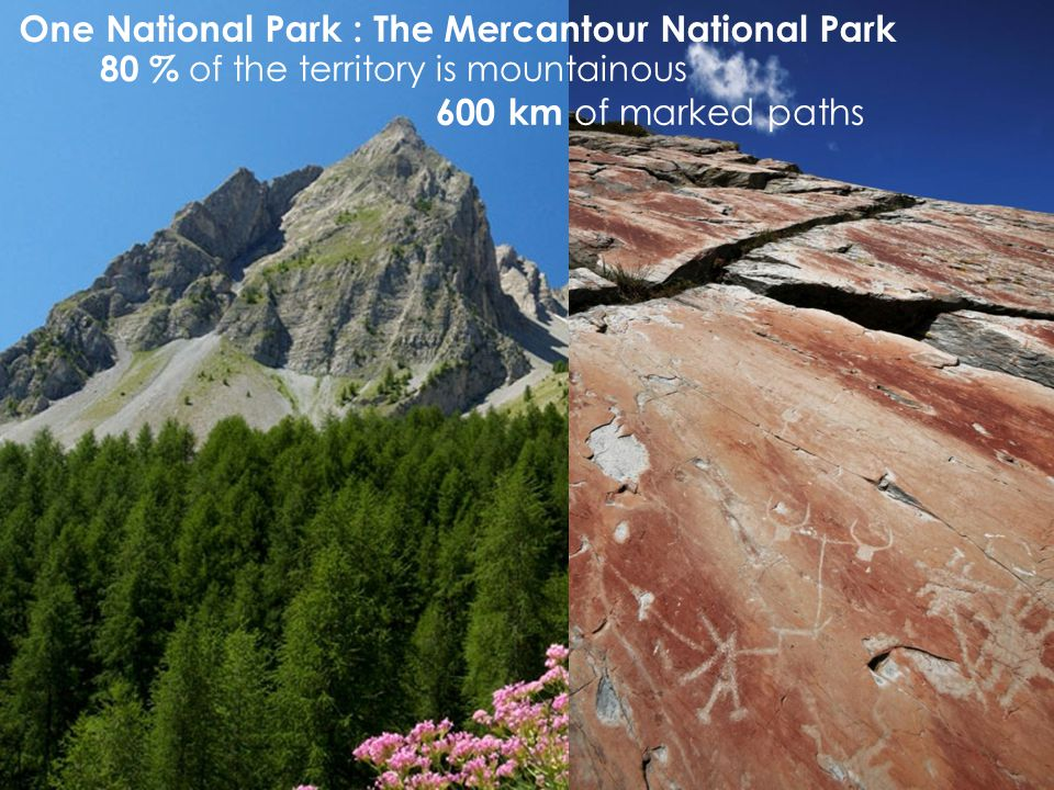80 % of the territory is mountainous 600 km of marked paths One National Park : The Mercantour National Park