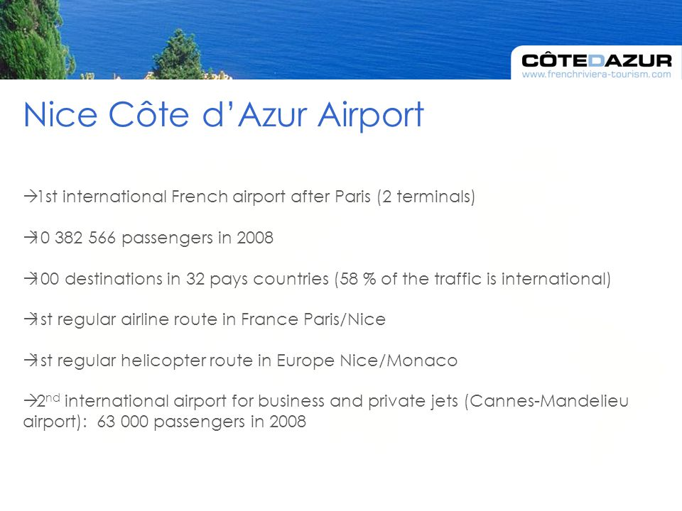  1st international French airport after Paris (2 terminals)  10 382 566 passengers in 2008  100 destinations in 32 pays countries (58 % of the traffic is international)  1st regular airline route in France Paris/Nice  1st regular helicopter route in Europe Nice/Monaco  2 nd international airport for business and private jets (Cannes-Mandelieu airport): 63 000 passengers in 2008 Nice Côte d'Azur Airport