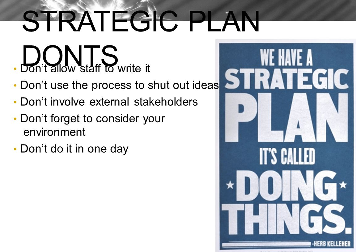 STRATEGIC PLAN DONTS Don't allow staff to write it Don't use the process to shut out ideas Don't involve external stakeholders Don't forget to conside