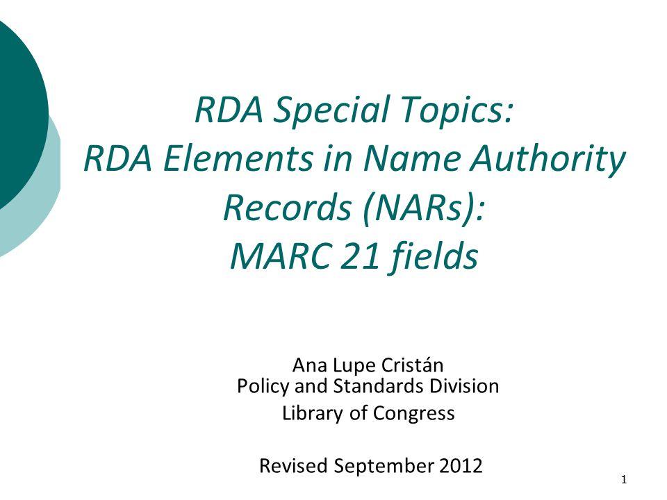375 – RDA Element – RDA number  Gender9.7