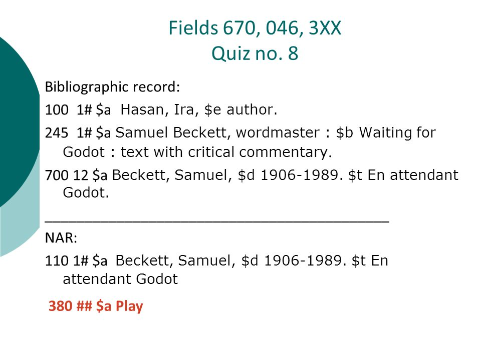 Bibliographic record: 100 1# $a Hasan, Ira, $e author.
