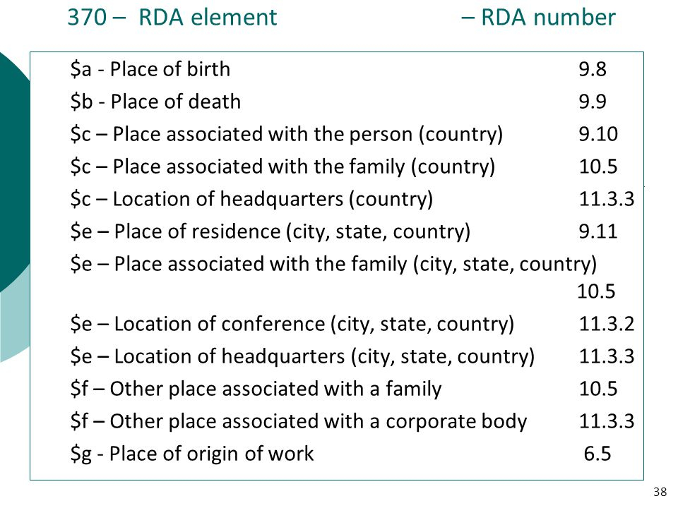 370 – RDA element – RDA number $a - Place of birth 9.8 $b - Place of death 9.9 $c – Place associated with the person (country)9.10 $c – Place associated with the family (country)10.5 $c – Location of headquarters (country) 11.3.3 $e – Place of residence (city, state, country)9.11 $e – Place associated with the family (city, state, country) 10.5 $e – Location of conference (city, state, country) 11.3.2 $e – Location of headquarters (city, state, country) 11.3.3 $f – Other place associated with a family10.5 $f – Other place associated with a corporate body11.3.3 $g - Place of origin of work 6.5 38