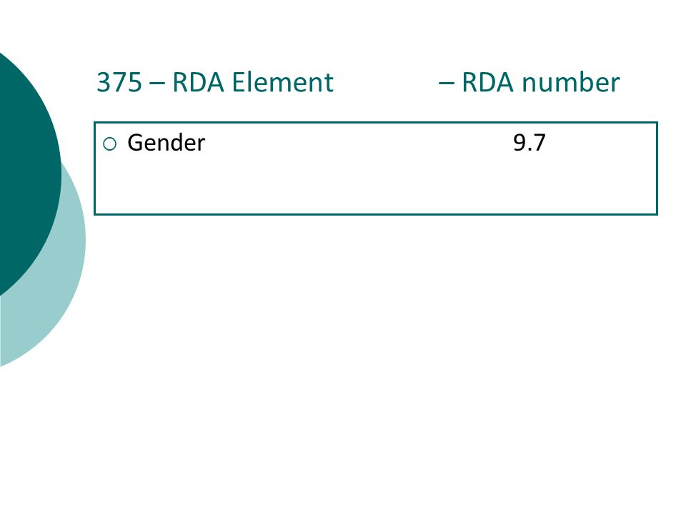 375 – RDA Element – RDA number  Gender9.7