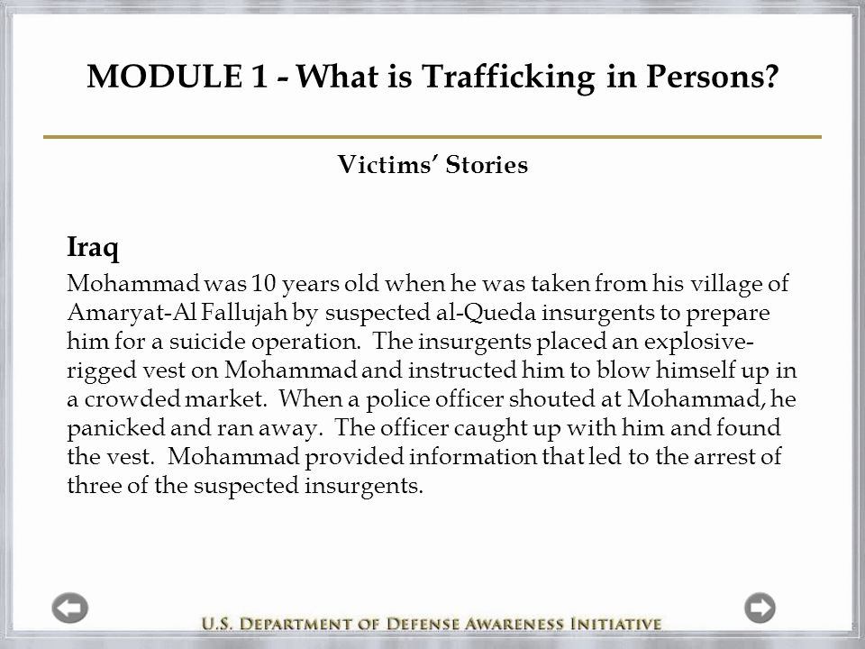 MODULE 1 - What is Trafficking in Persons.