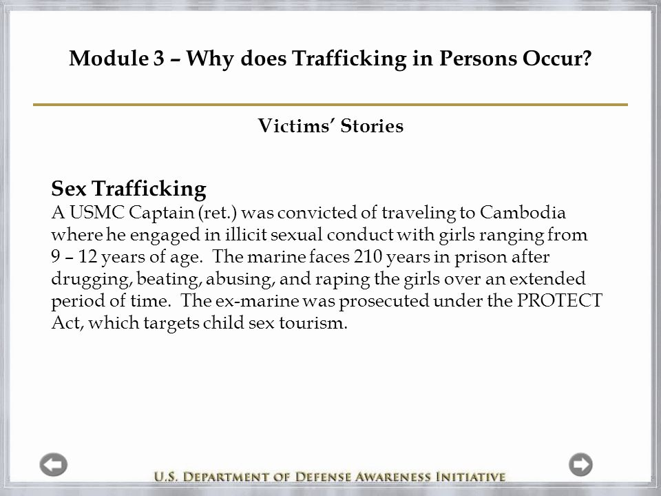 Module 3 – Why does Trafficking in Persons Occur.