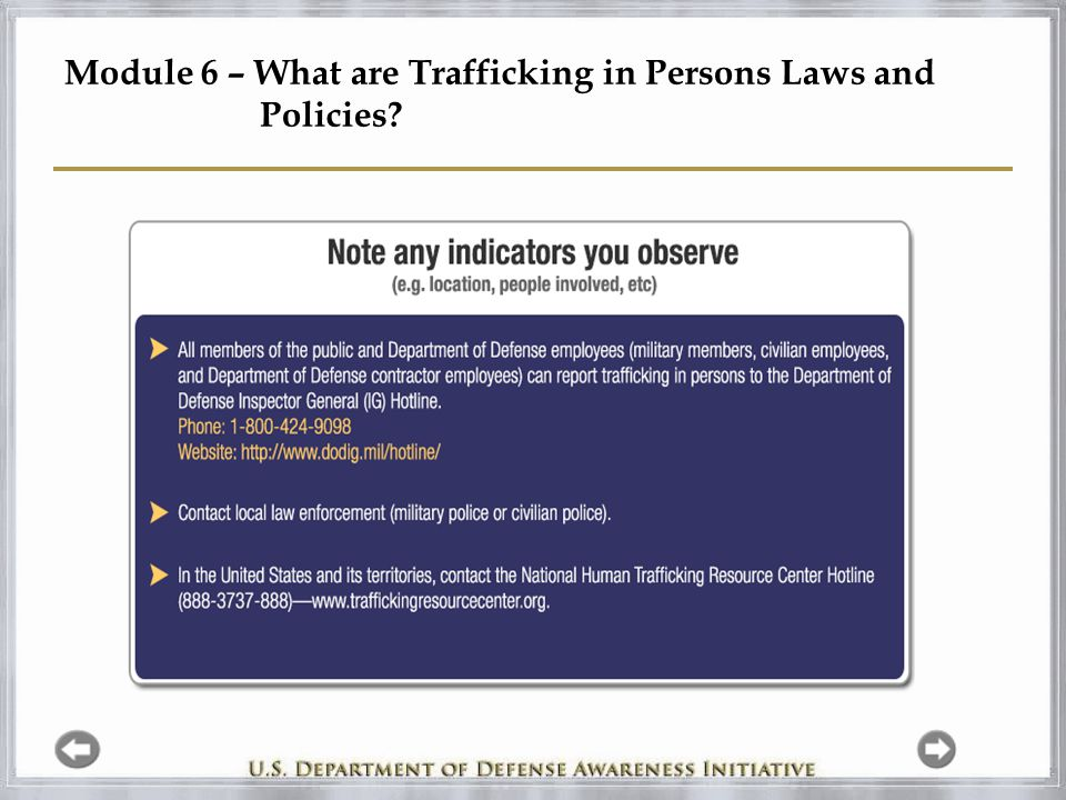 Module 6 – What are Trafficking in Persons Laws and Policies?