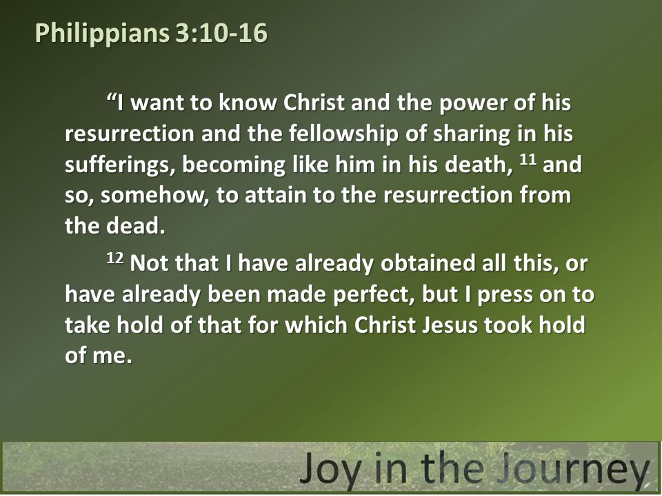 I want to know Christ and the power of his resurrection and the fellowship of sharing in his sufferings, becoming like him in his death, 11 and so, somehow, to attain to the resurrection from the dead.