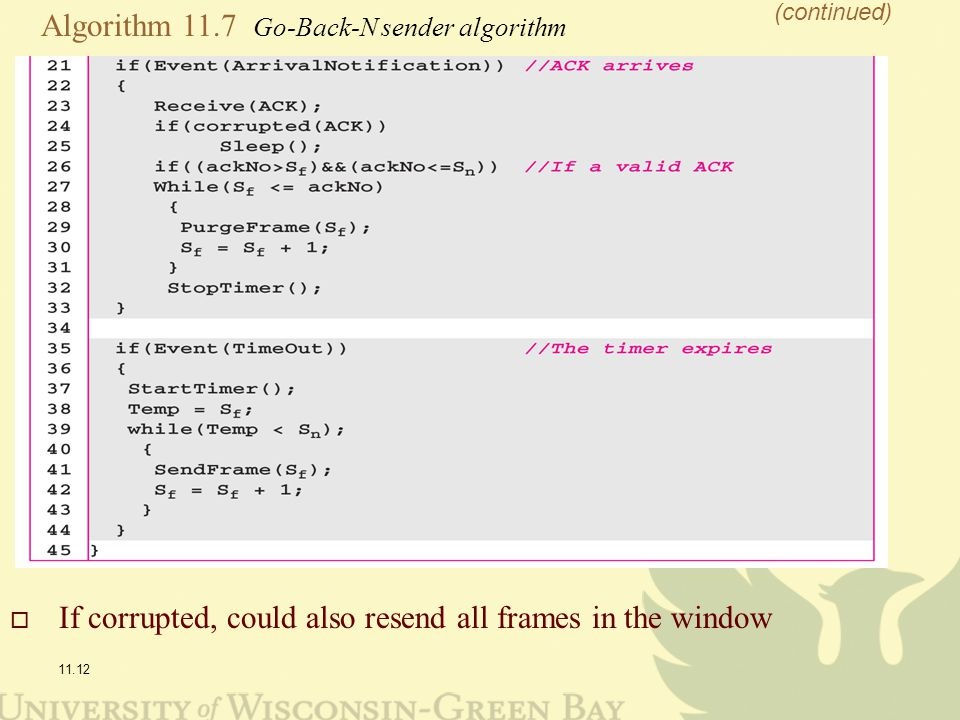 11.12 Algorithm 11.7 Go-Back-N sender algorithm (continued)  If corrupted, could also resend all frames in the window