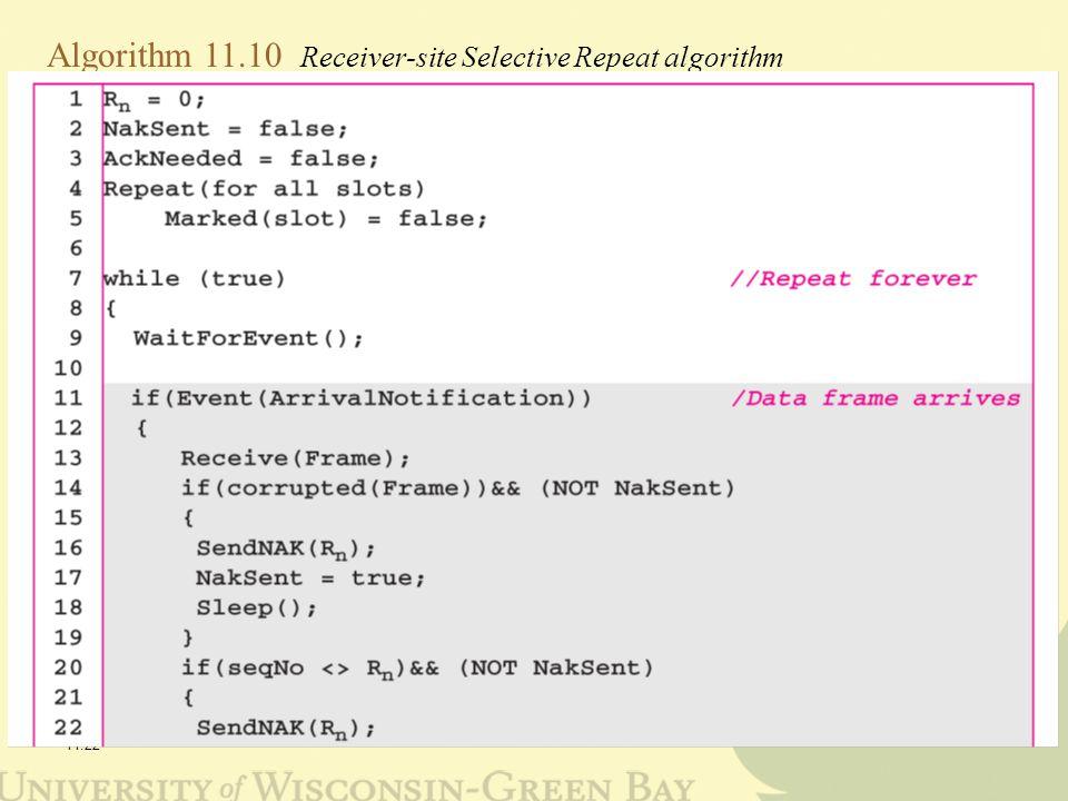 11.22 Algorithm 11.10 Receiver-site Selective Repeat algorithm