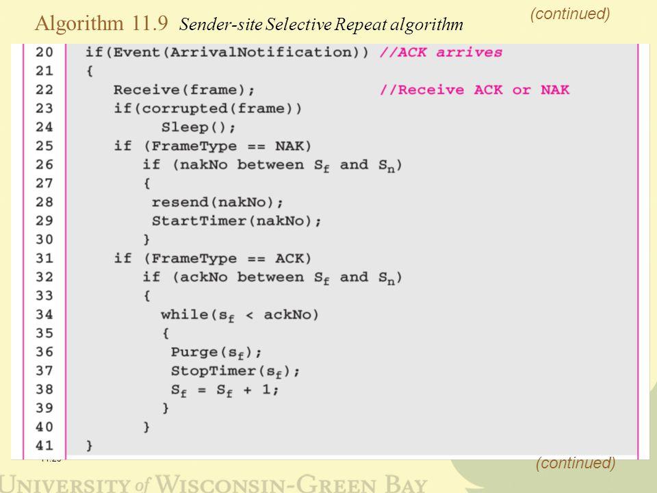 11.25 Algorithm 11.9 Sender-site Selective Repeat algorithm (continued)