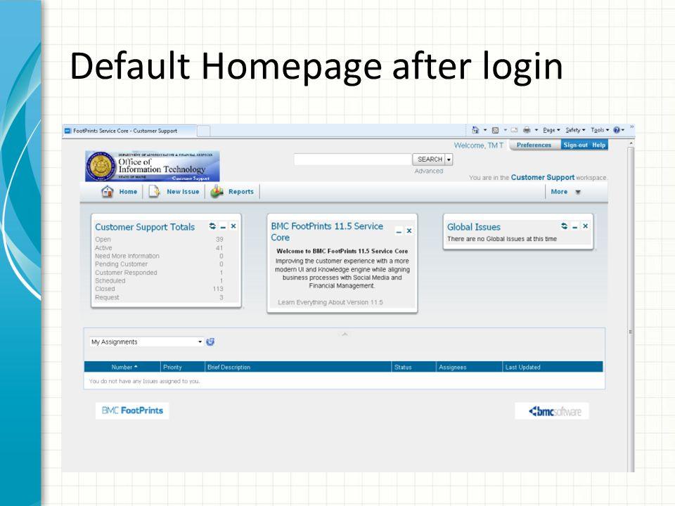 Default Homepage after login