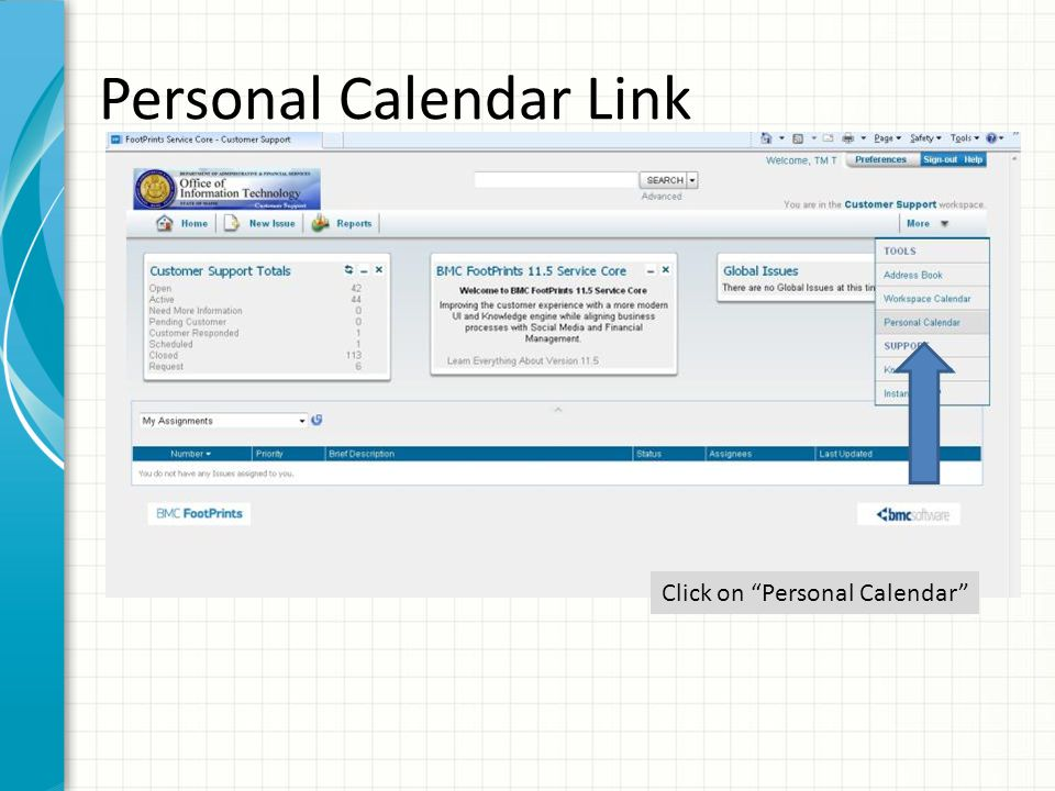 Click here to set your preferences The initial calendar window