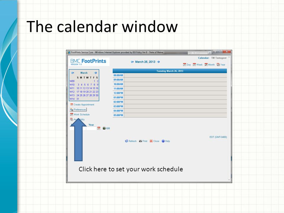On this screen you set up your work hours for the week.