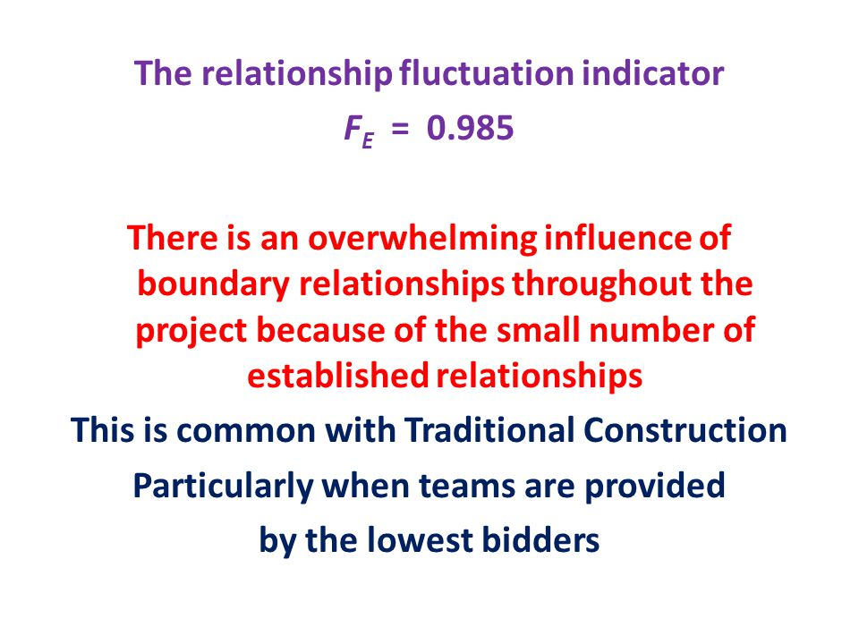 The relationship fluctuation indicator F E = There is an overwhelming influence of boundary relationships throughout the project because of the small number of established relationships This is common with Traditional Construction Particularly when teams are provided by the lowest bidders