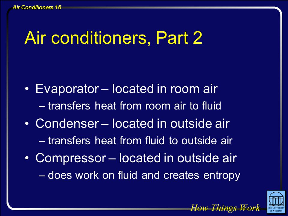 Air Conditioners 16 Air conditioners, Part 2 Evaporator – located in room air –transfers heat from room air to fluid Condenser – located in outside ai