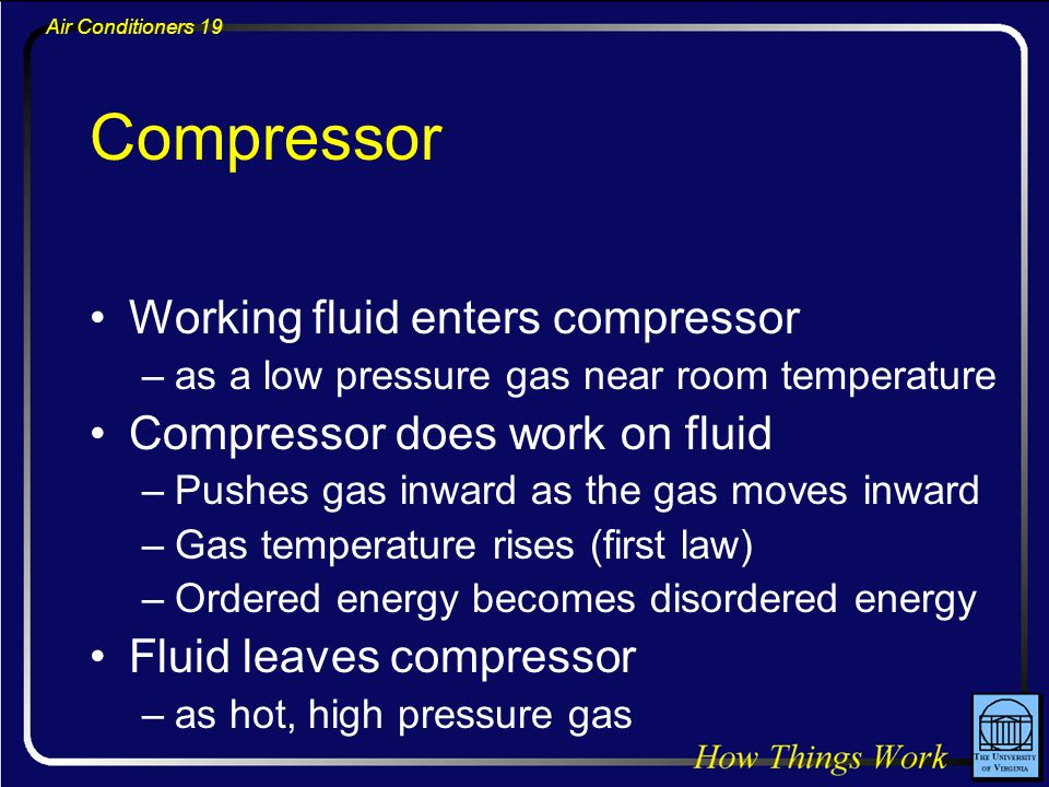 Air Conditioners 19 Compressor Working fluid enters compressor –as a low pressure gas near room temperature Compressor does work on fluid –Pushes gas