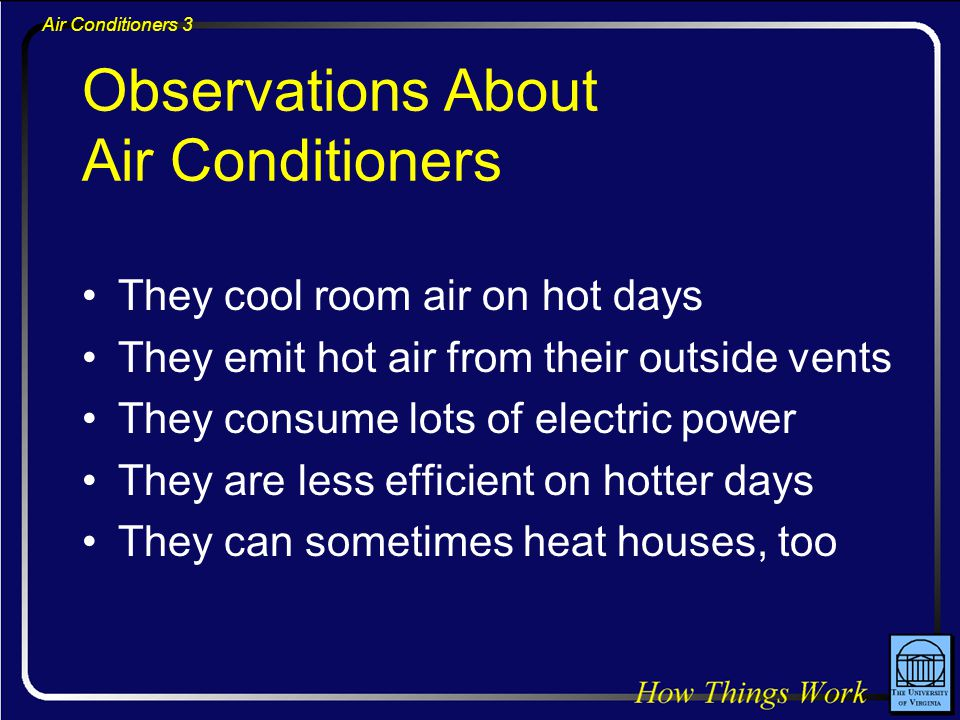 Air Conditioners 3 Observations About Air Conditioners They cool room air on hot days They emit hot air from their outside vents They consume lots of