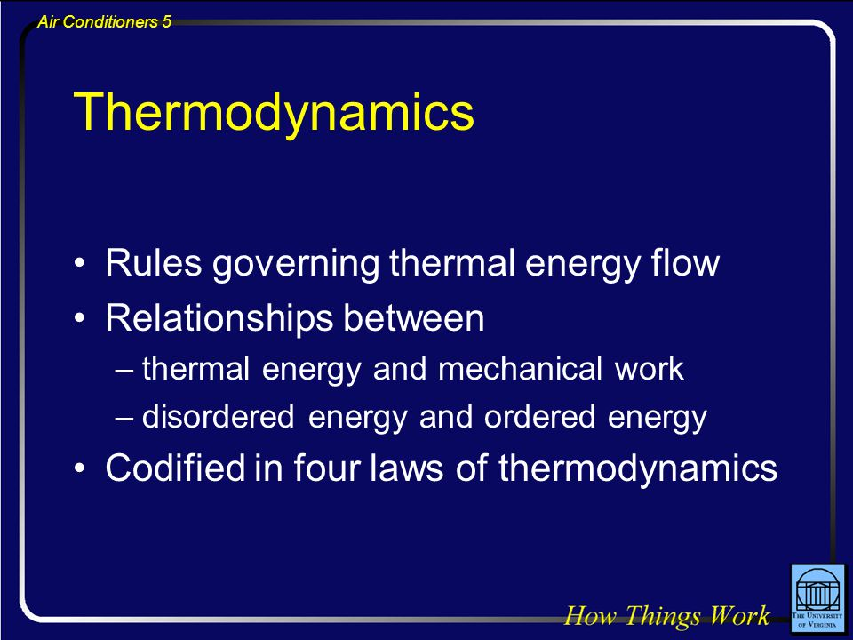 Air Conditioners 5 Thermodynamics Rules governing thermal energy flow Relationships between –thermal energy and mechanical work –disordered energy and