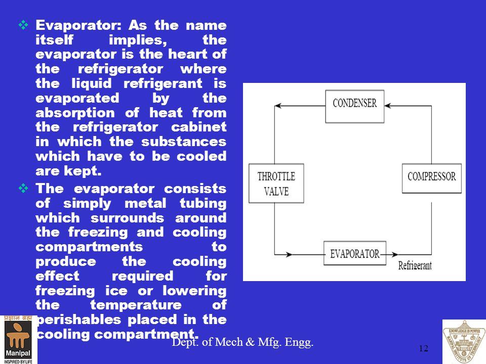 Dept. of Mech & Mfg. Engg. 12  Evaporator: As the name itself implies, the evaporator is the heart of the refrigerator where the liquid refrigerant i