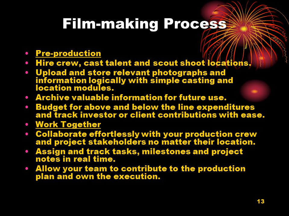 13 Film-making Process Pre-production Hire crew, cast talent and scout shoot locations. Upload and store relevant photographs and information logicall