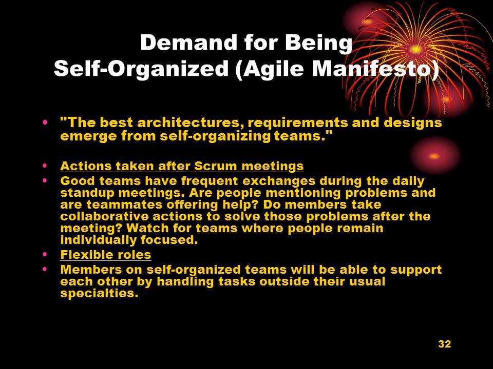 32 Demand for Being Self-Organized (Agile Manifesto)