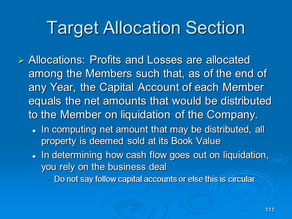 111 Target Allocation Section  Allocations: Profits and Losses are allocated among the Members such that, as of the end of any Year, the Capital Account of each Member equals the net amounts that would be distributed to the Member on liquidation of the Company.