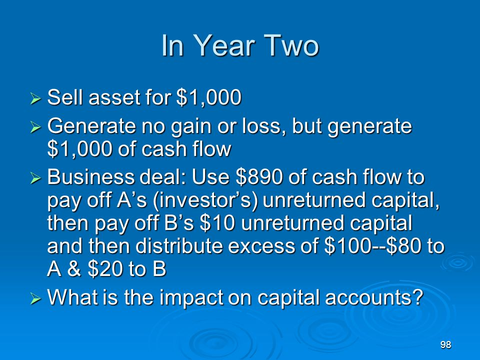 98 In Year Two  Sell asset for $1,000  Generate no gain or loss, but generate $1,000 of cash flow  Business deal: Use $890 of cash flow to pay off A's (investor's) unreturned capital, then pay off B's $10 unreturned capital and then distribute excess of $100--$80 to A & $20 to B  What is the impact on capital accounts?