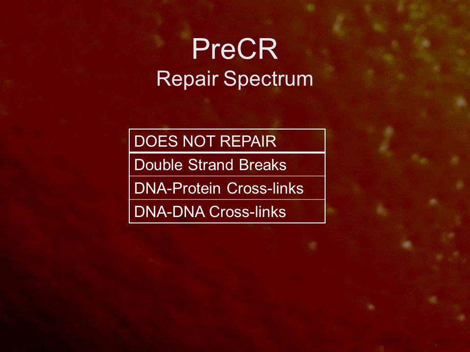 PreCR Repair Spectrum DOES NOT REPAIR Double Strand Breaks DNA-Protein Cross-links DNA-DNA Cross-links