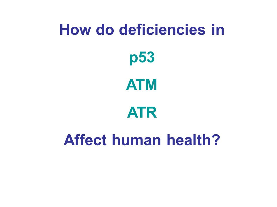 How do deficiencies in p53 ATM ATR Affect human health?