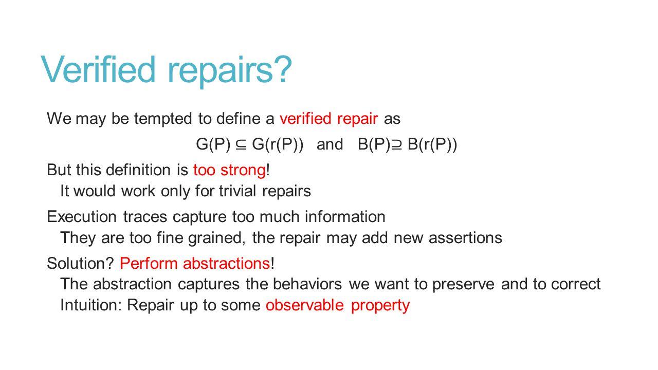 Verified repairs.